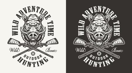 Vintage zwart-wit varken jacht print met zwijnen hoofd en gekruiste kanonnen geïsoleerde vectorillustratie