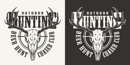 Vintage hunting label with deer skull in monochrome style isolated vector illustration
