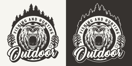 Vintage monochrome hunting round with angry bear head and forest silhouette isolated vector illustration Standard-Bild - 121565238