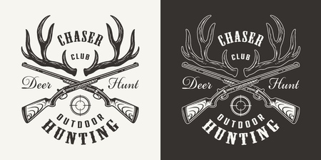 Vintage monochrome hunting print with deer horns and crossed guns isolated vector illustration