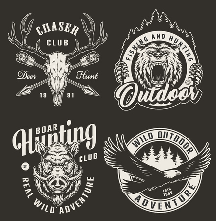 Vintage monochrome hunting club designs with angry bear and hog heads deer skull crossed arrows forest silhouette flying eagle isolated vector illustration