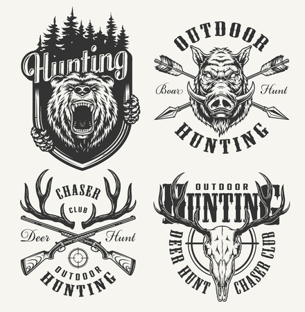 Vintage monochrome hunting club logotypes with angry boar and bear heads deer skull horns crossed arrows and guns isolated vector illustration Illustration