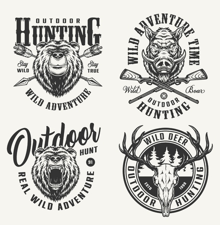 Vintage monochrome hunting badges with bear and hog heads deer skull crossed arrows and guns isolated vector illustration Illustration