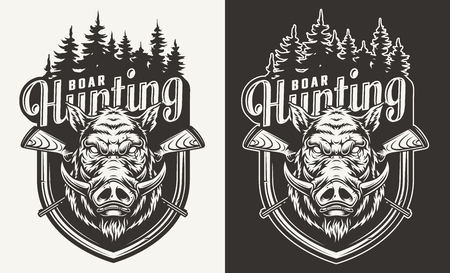 Vintage hunting monochrome badge with angry boar head crossed guns and forest silhouette isolated vector illustration