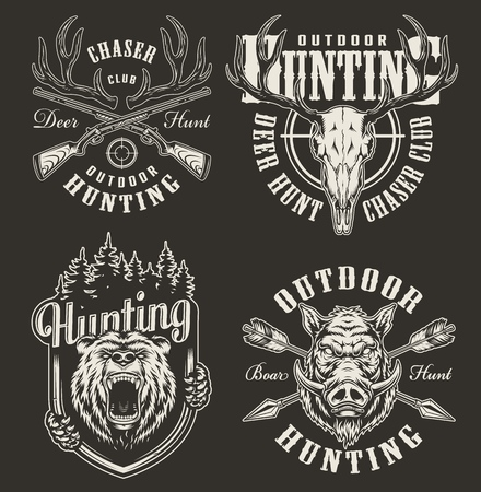 Vintage hunting prints with bear and hog heads deer skull horns rifle aim crossed guns and arrows in monochrome style isolated vector illustration Standard-Bild - 121565249