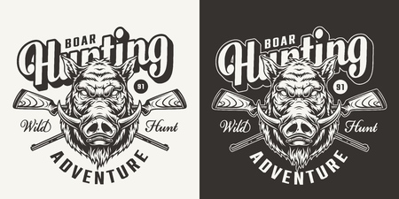 Vintage monochrome boar hunting emblem with hog head and crossed shotguns isolated vector illustration