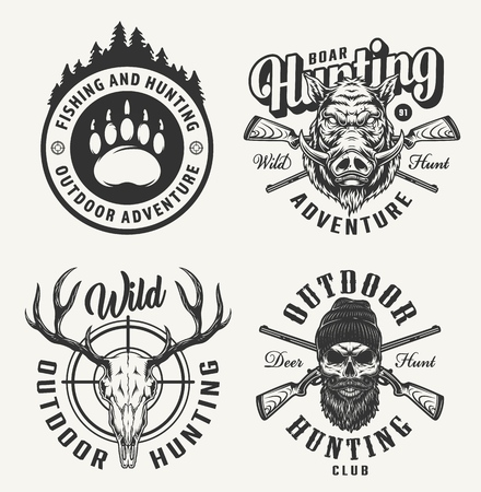 Vintage monochrome hunting prints with bear footprint boar head deer and hunter skulls crossed guns isolated vector illustration