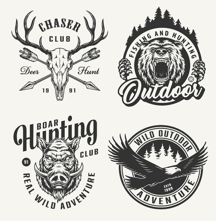 Vintage hunting emblems set with deer skull bear and boar heads flying eagle crossed arrows isolated vector illustration