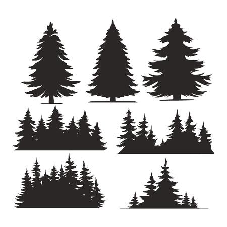 Gli alberi d'annata e le siluette della foresta hanno messo nell'illustrazione di vettore isolata stile monocromatico Vettoriali