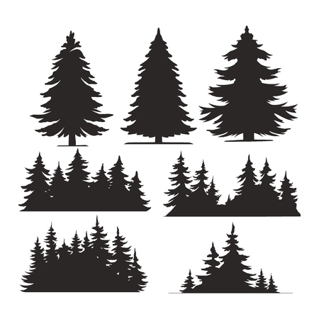 Vintage trees and forest silhouettes set in monochrome style isolated vector illustration Çizim