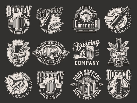 Monochrome beer prints collection with mug glass bottle cans metal cap wheat ears wooden barrel bottle opener in vintage style isolated vector illustration Ilustrace