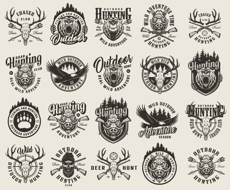 Vintage monochrome hunting emblems set with bear and boar animal track heads flying eagle deer and hunter skulls crossed arrows guns rifle aim forest silhouette isolated vector illustration