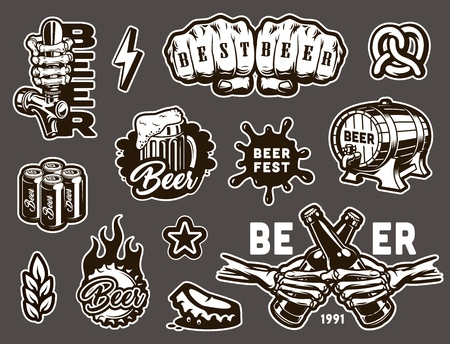 Vintage monochrome brewing elements set with pretzel beer tap glass cans cask mug fiery cap blot wheat ear skeleton hands clinking beer bottles isolated vector illustration Illustration