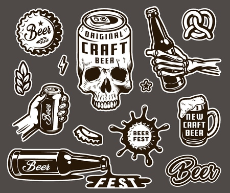 Vintage brewing monochrome elements collection with beer can shaped skull cap wheat ear pretzel mug skeleton and male hands holding bottle and can isolated vector illustration