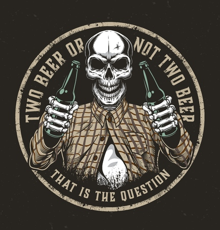 Emblème coloré rond de bière vintage avec crâne en chemise à carreaux tenant deux bouteilles de bière illustration vectorielle isolée