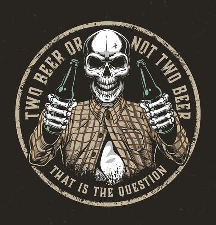 Emblema colorido redondo de cerveza vintage con calavera en camisa a cuadros sosteniendo dos botellas de cerveza aisladas ilustración vectorial