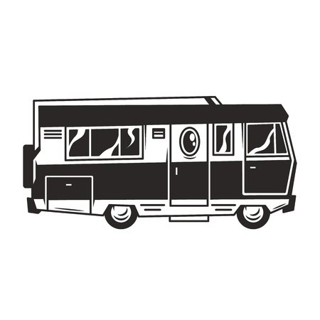 Vintage recreation truck or motorhome template in monochrome style isolated vector illustration
