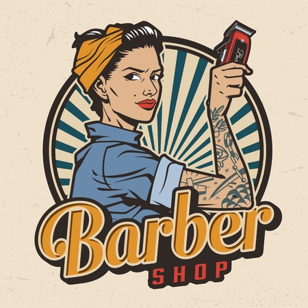 Vintage barbershop colorful print with pin up attractive woman in bandana holding electric hair clipper isolated vector illustration Stockfoto - 122418646