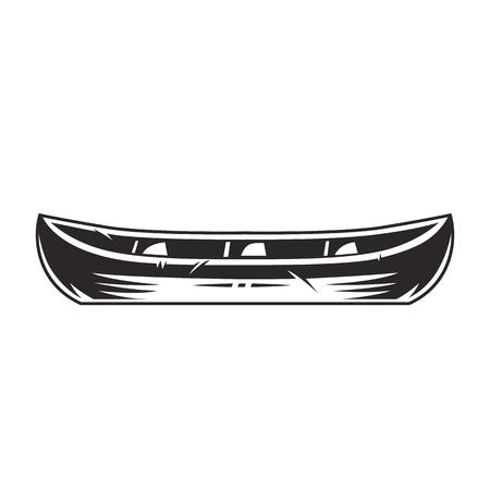Concepto de barco de canoa vintage en estilo monocromo aislado ilustración vectorial