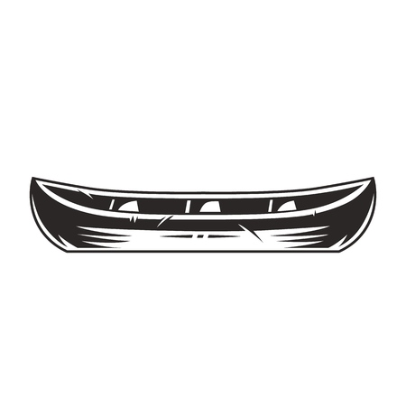 Vintage canoe boat concept in monochrome style isolated vector illustration