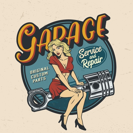 Vintage colorful garage repair service   with pinup attractive woman sitting on engine piston isolated vector illustration