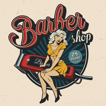Vintage barbershop colorful emblem with pinup pretty woman sitting on electric hair clipper isolated vector illustration