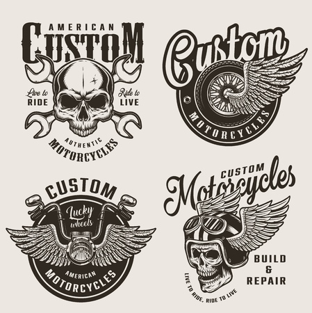 Vintage custom motorcycle emblems with motorcyclist skull in winged helmet crossed wrenches winged wheel and chopper steering wheel isolated vector illustration