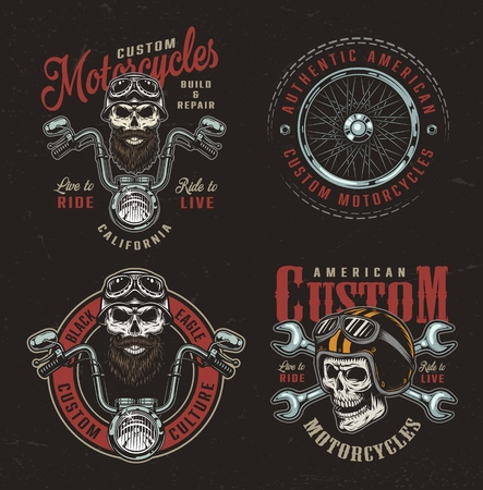 Vintage colorful custom motorcycle logotypes with biker and motorcyclist skulls motorbike steering wheel crossed wrenches moto wheel isolated vector illustration