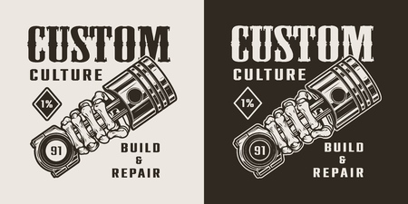 Vintage motorcycle repair service logotype with skeleton hand holding engine piston isolated vector illustration