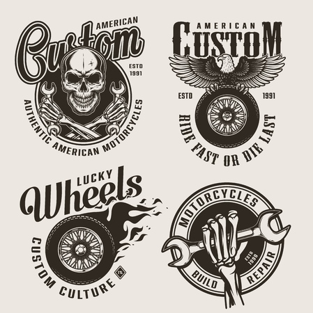 Vintage monochrome custom motorcycle labels with skull skeleton hands holding wrenches eagle sitting on motorbike wheel fiery tire isolated vector illustration