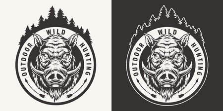 Vintage monochrome boar hunting round emblem with angry hog head and forest silhouette isolated vector illustration
