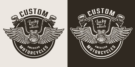 Custom motorcycle emblem with winged motorcycle steering wheel in vintage monochrome style isolated vector illustration