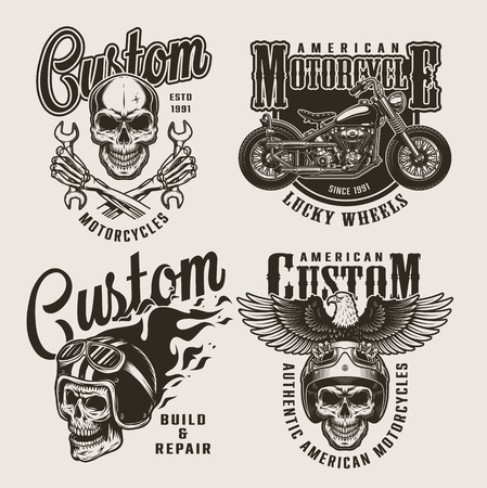 Vintage custom motorcycle prints with motorcyclist skulls chopper eagle fiery helmet skeleton hands holding wrenches on light background isolated vector illustration