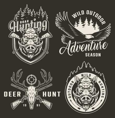 Vintage monochrome hunting logotypes with flying eagle boar heads deer skull crossed guns rifle aim forest silhouette isolated vector illustration Illustration