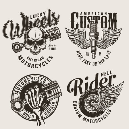 Vintage motorcycle repair service emblems with skull skeleton hand holding engine piston winged spark plug and moto wheel isolated vector illustration Illustration