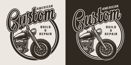 Monochrome custom motorcycle round label with chopper in vintage style isolated vector illustration