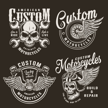 Vintage monochrome custom motorcycle logos with motorcyclist skulls crossed wrenches winged wheel helmet and chopper steering wheel isolated vector illustration