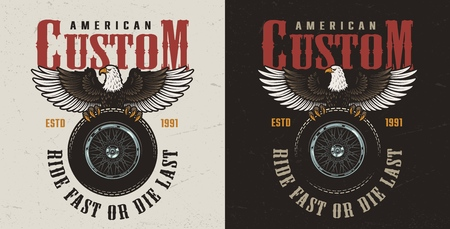 Colorful custom motorcycle label with eagle sitting on motorbike wheel in vintage style isolated vector illustration