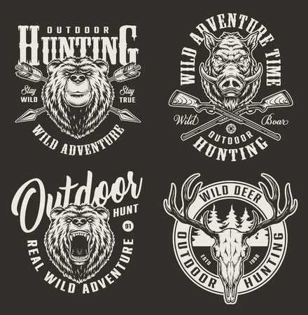 Vintage hunting labels with deer skull bear and boar heads forest silhouette crossed arrows and shotguns on dark background isolated vector illustration