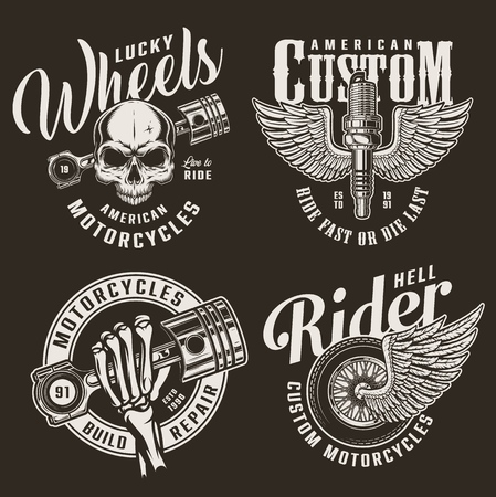 Monochrome custom motorcycle logotypes with skull engine pistons winged motorbike wheel and spark plug in vintage style isolated vector illustration