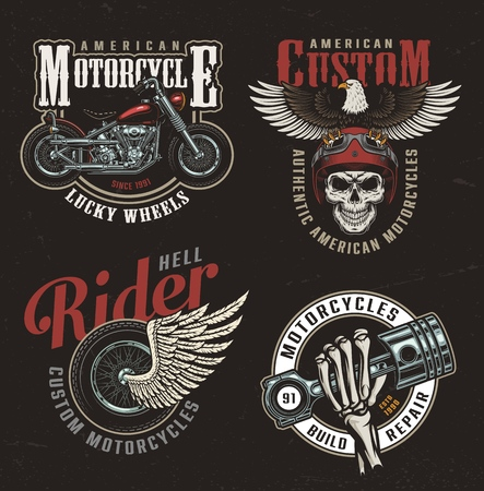 Vintage colorful motorcycle labels with chopper eagle motorcyclist skull in helmet winged wheel skeleton hand holding engine piston isolated vector illustration Illustration