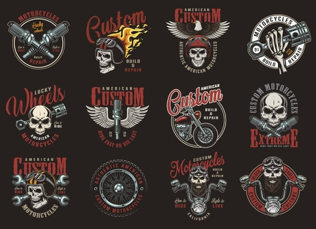 Impresiones coloridas de motocicletas personalizadas con inscripciones, piezas de motos de águila, calaveras de motociclistas y motociclistas en cascos en estilo vintage aislado ilustración vectorial