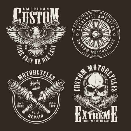 Vintage custom motorcycle labels with eagle chopper front view motorbike wheel skull and crossed engine spark plugs isolated vector illustration