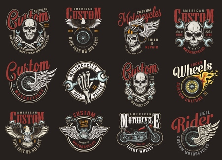 Vintage colorful motorcycle repair service logos with motorcyclist skulls wrenches chopper fiery tyre winged moto helmet and wheel isolated vector illustration