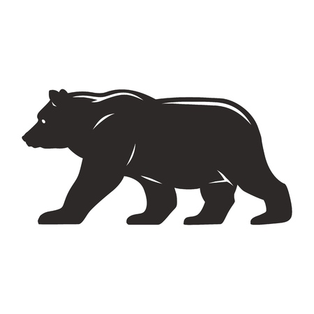 Vintage walking bear silhouette concept on white background isolated vector illustration