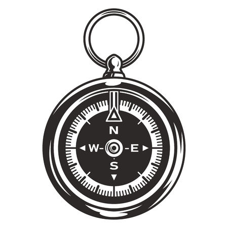 Vintage navigational compass concept in monochrome style isolated vector illustration