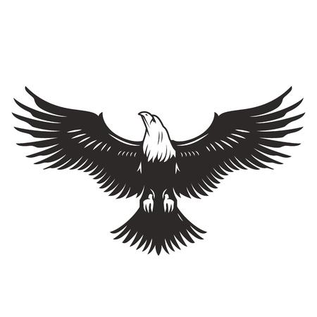 Monochrome fliegende Adler-Vorlage im Vintage-Stil isolierte Vektorillustration