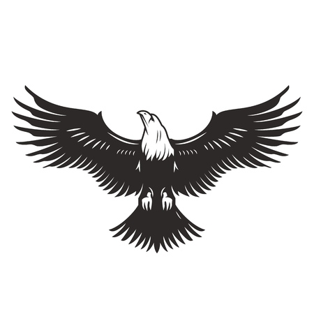 Monochrome flying eagle template in vintage style isolated vector illustration
