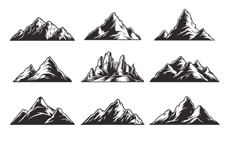 Vintage monochrome mountain landscapes set with rocks and peaks isolated vector illustration Vectores