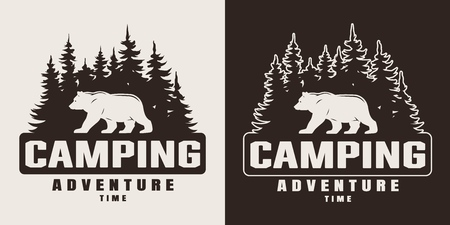 Vintage monochrome summer camping print with bear and forest silhouettes isolated vector illustration Vettoriali